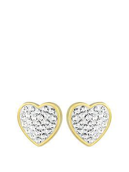 evoke-sterling-silver-gold-plated-amp-swarovski-elements-heart-stud-earrings