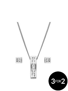 the-love-silver-collection-sterling-silver-cubic-zirconia-bar-pendant-and-square-stud-earring-set