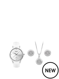 evoke-evoke-sterling-silver-amp-swarovski-elements-circle-pendant-earrings-amp-watch-set