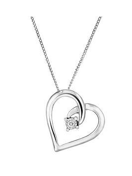 Love DIAMOND Love Diamond Sterling Silver Diamond Set Open Heart Pendant Picture