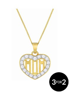 the-love-silver-collection-9ct-gold-plated-sterling-silver-cubic-zirconia-set-039mum039-heart-pendant