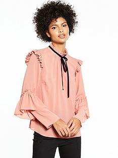 v-by-very-contrast-tie-ruffle-blouse
