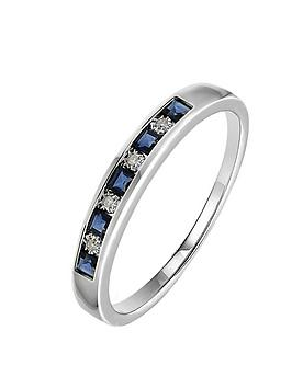 Love GEM Love Gem 9Ct White Gold Sapphire And Diamond Set Eternity Ring Picture