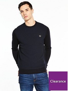 fred-perry-textured-crew-neck-jumper