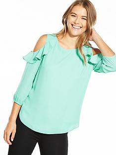 wallis-ruffle-cold-shoulder-top-mint