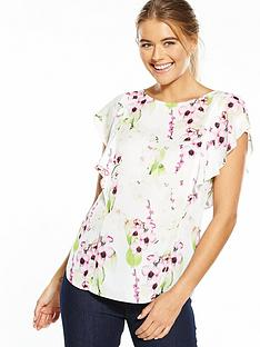 wallis-summer-orchid-side-ruffle-shell-top