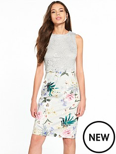 wallis-grey-lace-top-floral-scuba-dress
