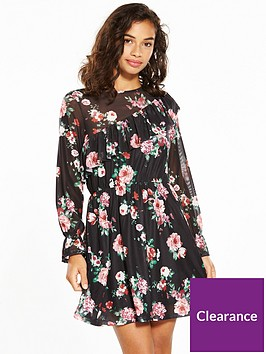 v-by-very-petite-mesh-printed-tea-dress