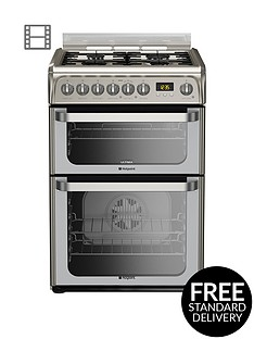 hotpoint-ultima-hud61xs-60cm-dual-fuel-cooker-gas-hob-with-fsd-stainless-steel