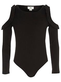river-island-girls-black-rib-frill-cold-shoulder-bodysuit