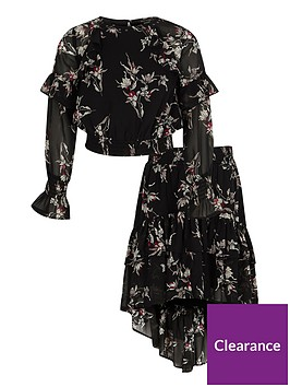 river-island-girls-black-floral-frill-top-and-skirt-outfit