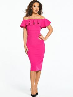 myleene-klass-bardot-ruffle-bodycon-dress