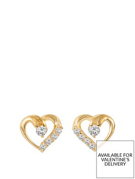 b3cb8dc67 Love GOLD 9ct yellow gold 6mm Heart CZ stud earrings | littlewoods.com