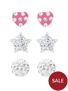 the-love-silver-collection-sterling-silver-ball-heart-and-star-crystal-stud-childrens-set-of-3-earrings
