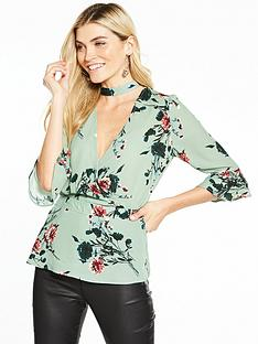 v-by-very-printed-choker-blouse