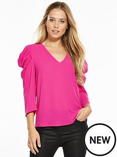 v-by-very-statement-sleeve-v-neck-top-hot-pink