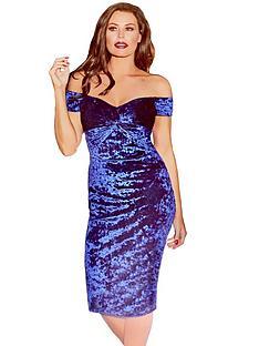jessica-wright-jessica-wright-roberta-bardot-knot-front-velvet-midi-dress