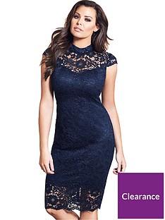 37153cb0716 Jessica Wright Collette High Neck Lace Midi Dress - Navy