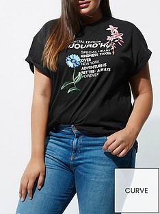 ri-plus-floral-slogan-t-shirt