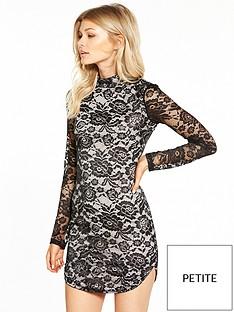 ax-paris-ax-paris-petite-long-sleeve-lace-curve-hem-mini-dress