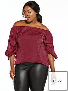 ax-paris-curve-gather-sleeve-bardot-top