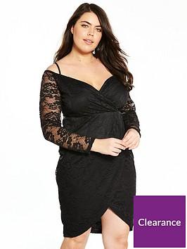 ax-paris-curve-ax-paris-curve-cold-shoulder-lace-wrap-dress