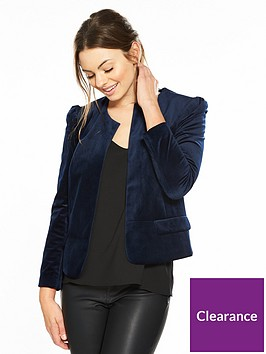 v-by-very-short-collarless-velvet-jacket