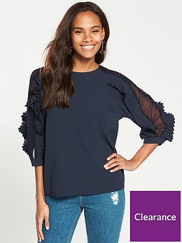 v-by-very-frill-mesh-sleeve-blouse-navy
