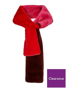 warehouse-faux-fur-colour-block-scarf