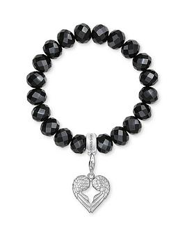 Thomas Sabo Thomas Sabo Charm Club Black Obsidian Stone Bracelet And Angel  ... Picture