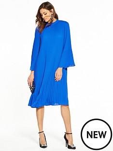 v-by-very-pleat-midi-dress-cobalt-blue