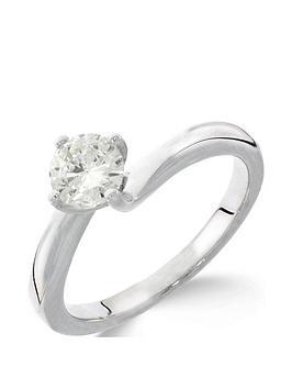 Love DIAMOND Love Diamond 9Ct White Gold 1Ct Diamond Solitaire Twisted Ring Picture