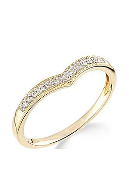 Love DIAMOND Love Diamond 9Ct Yellow Gold Diamond Set Wish Bone Ring Picture
