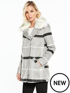 river-island-faux-fur-swing-check-coat