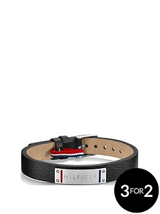 tommy-hilfiger-mensnbspblack-leather-bracelet
