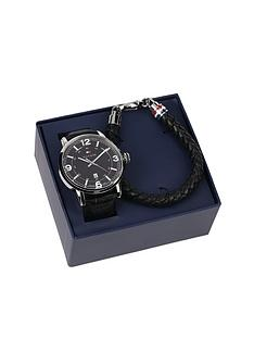 tommy-hilfiger-mens-black-leather-watch-and-black-leather-bracelet-gift-set