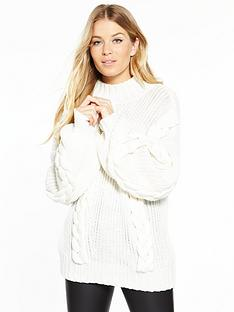 v-by-very-chunky-cable-mixed-rib-blouson-sleeve-jumper