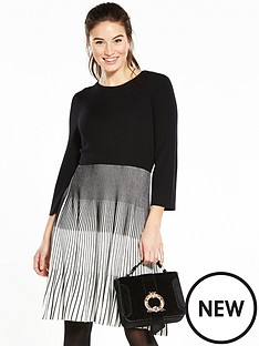 v-by-very-monochromenbspvariegatednbsprib-bell-sleeve-knitted-dress