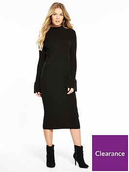 v-by-very-flared-cuff-rib-midi-knitted-dress