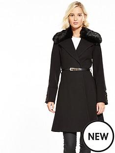 miss-selfridge-fur-trim-belted-coat