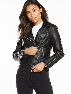 miss-selfridge-studded-pu-biker-jacket