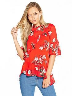 miss-selfridge-print-asymmetric-blouse