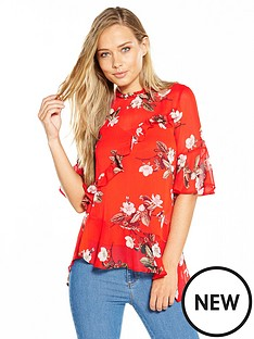 miss-selfridge-print-asymmetric-blouse