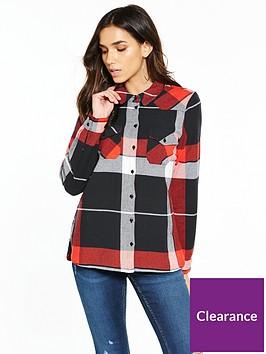 noisy-may-erik-long-sleeve-check-shirt-red