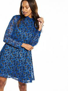 yas-feather-long-sleeve-dress-blue