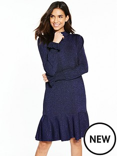 yas-mica-knit-dress-navy