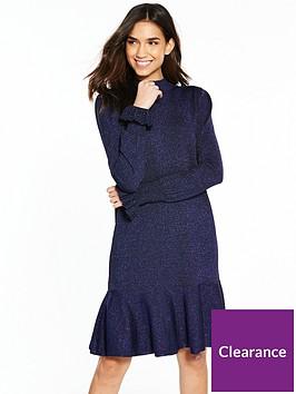 yas-mica-knit-dress-navy