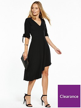 v-by-very-crepe-bow-sleeve-asymmetric-dress-black