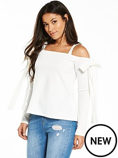 v-by-very-jersey-bow-cold-shoulder-top