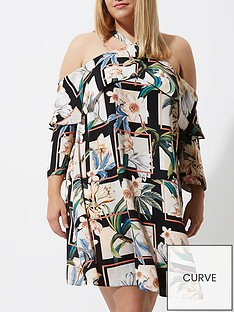 ri-plus-ri-plus-printed-frill-cold-shoulder-dress